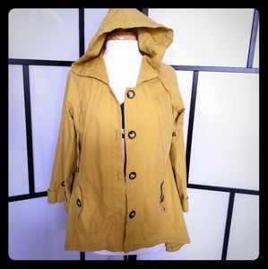 For Cynthia mustard yellow hooded jacket